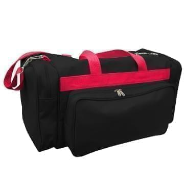 USA Made Poly Vacation Carryon Duffel Bags, Black-Red, 8006729-AO2