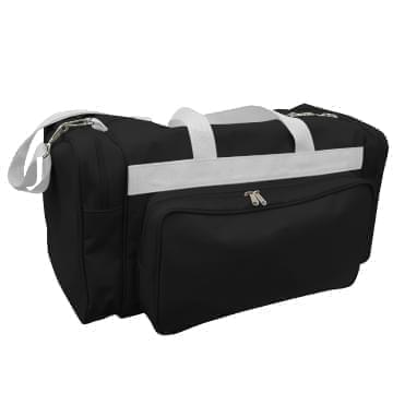USA Made Poly Vacation Carryon Duffel Bags, Black-White, 8006729-AO4