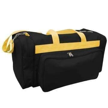 USA Made Poly Vacation Carryon Duffel Bags, Black-Gold, 8006729-AO5