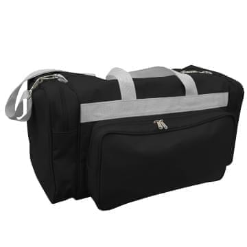 USA Made Poly Vacation Carryon Duffel Bags, Black-Grey, 8006729-AOU