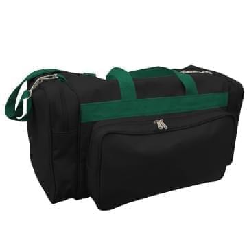 USA Made Poly Vacation Carryon Duffel Bags, Black-Hunter Green, 8006729-AOV