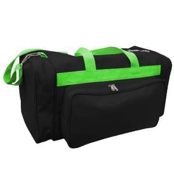 USA Made Poly Vacation Carryon Duffel Bags, Black-Lime, 8006729-AOY