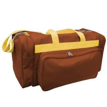 USA Made Poly Vacation Carryon Duffel Bags, Brown-Gold, 8006729-AP5