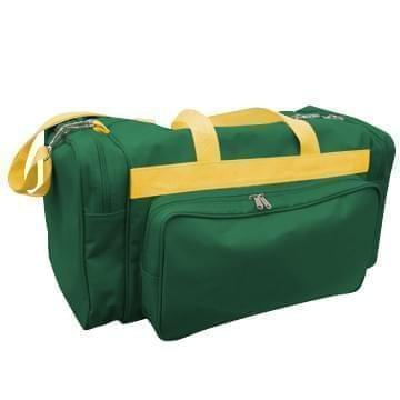 USA Made Poly Vacation Carryon Duffel Bags, Hunter Green-Gold, 8006729-AS5