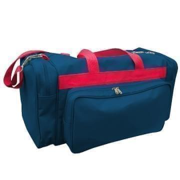 USA Made Poly Vacation Carryon Duffel Bags, Navy-Red, 8006729-AW2