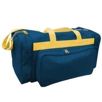 USA Made Poly Vacation Carryon Duffel Bags, Navy-Gold, 8006729-AW5
