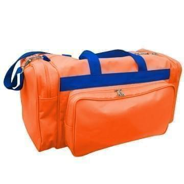 USA Made Poly Vacation Carryon Duffel Bags, Orange-Royal Blue, 8006729-AX3