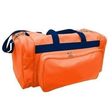 USA Made Poly Vacation Carryon Duffel Bags, Orange-Navy, 8006729-AXZ