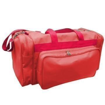 USA Made Poly Vacation Carryon Duffel Bags, Red-Red, 8006729-AZ2