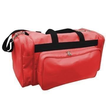 USA Made Poly Vacation Carryon Duffel Bags, Red-Black, 8006729-AZR