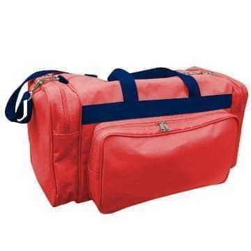 USA Made Poly Vacation Carryon Duffel Bags, Red-Navy, 8006729-AZZ