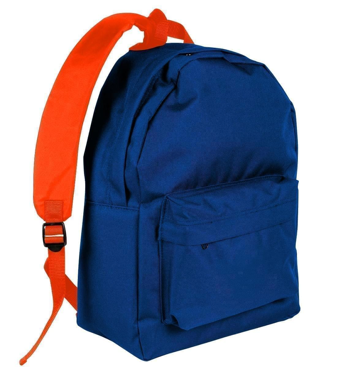 USA Made Nylon Poly Backpack Knapsacks, Royal Blue-Orange, 8960-A00
