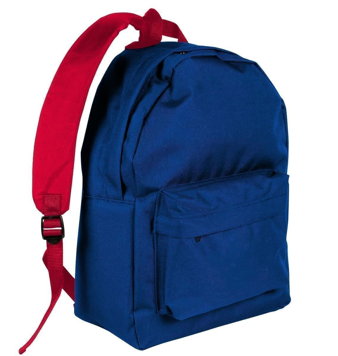 USA Made Nylon Poly Backpack Knapsacks, Royal Blue-Red, 8960-A02