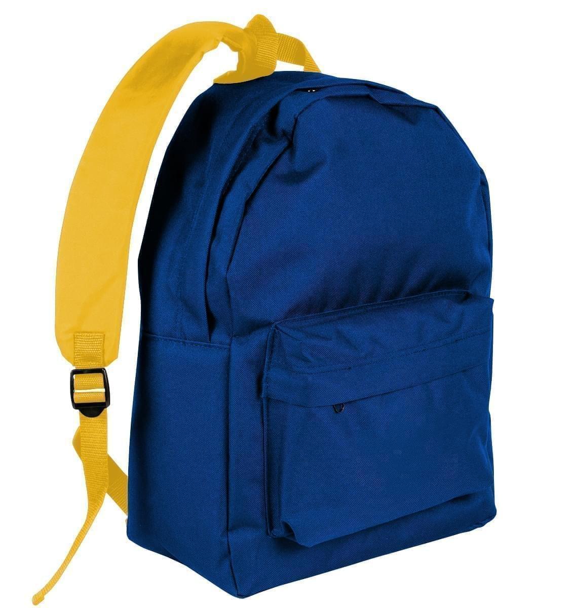 USA Made Nylon Poly Backpack Knapsacks, Royal Blue-Gold, 8960-A05