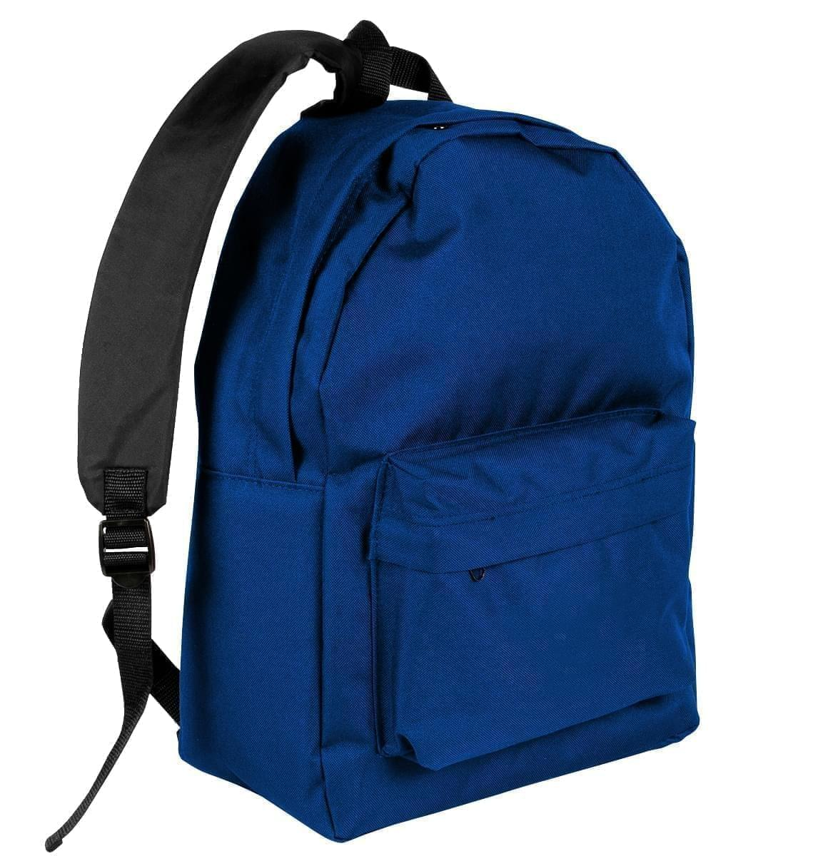 USA Made Nylon Poly Backpack Knapsacks, Royal Blue-Black, 8960-A0R
