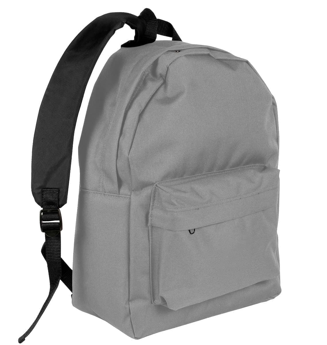 USA Made Nylon Poly Backpack Knapsacks, Grey-Black, 8960-A1R