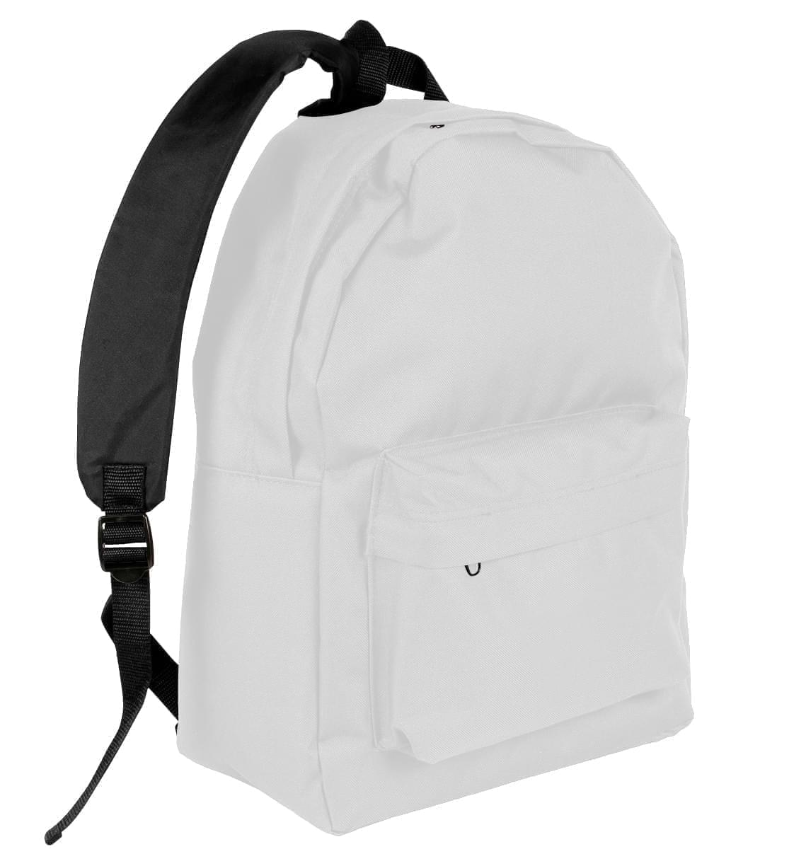 USA Made Nylon Poly Backpack Knapsacks, White-Black, 8960-A3R