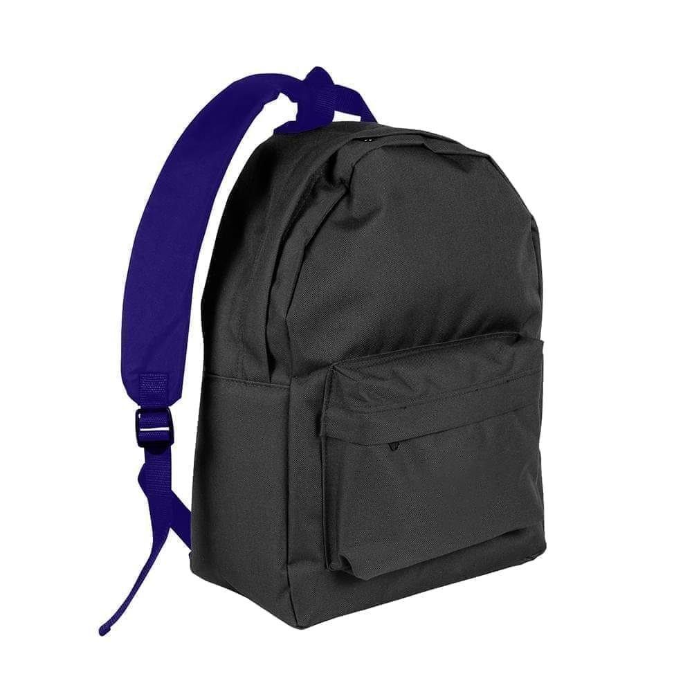 USA Made Nylon Poly Backpack Knapsacks, Black-Purple, 8960-AO1