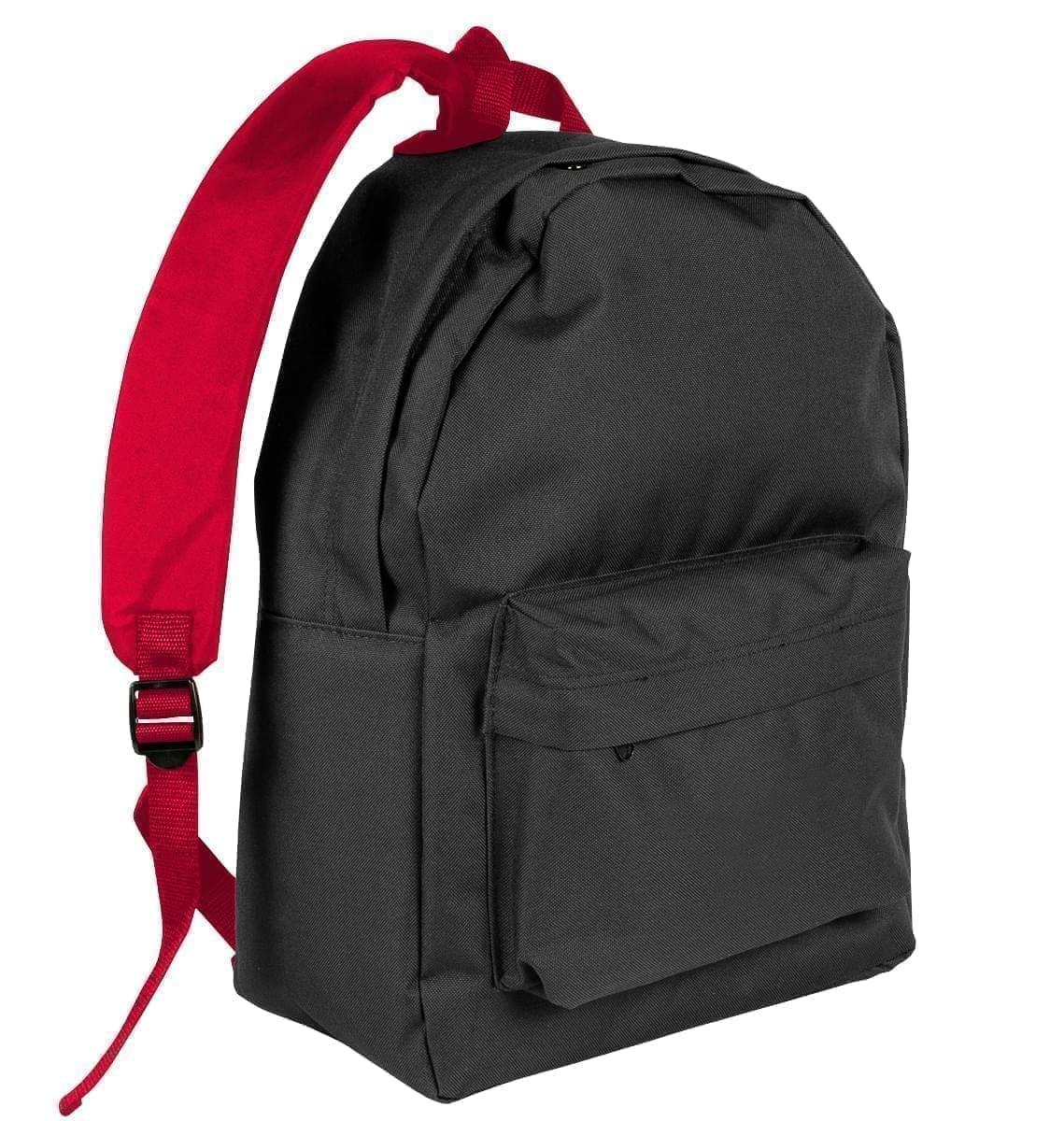 USA Made Nylon Poly Backpack Knapsacks, Black-Red, 8960-AO2