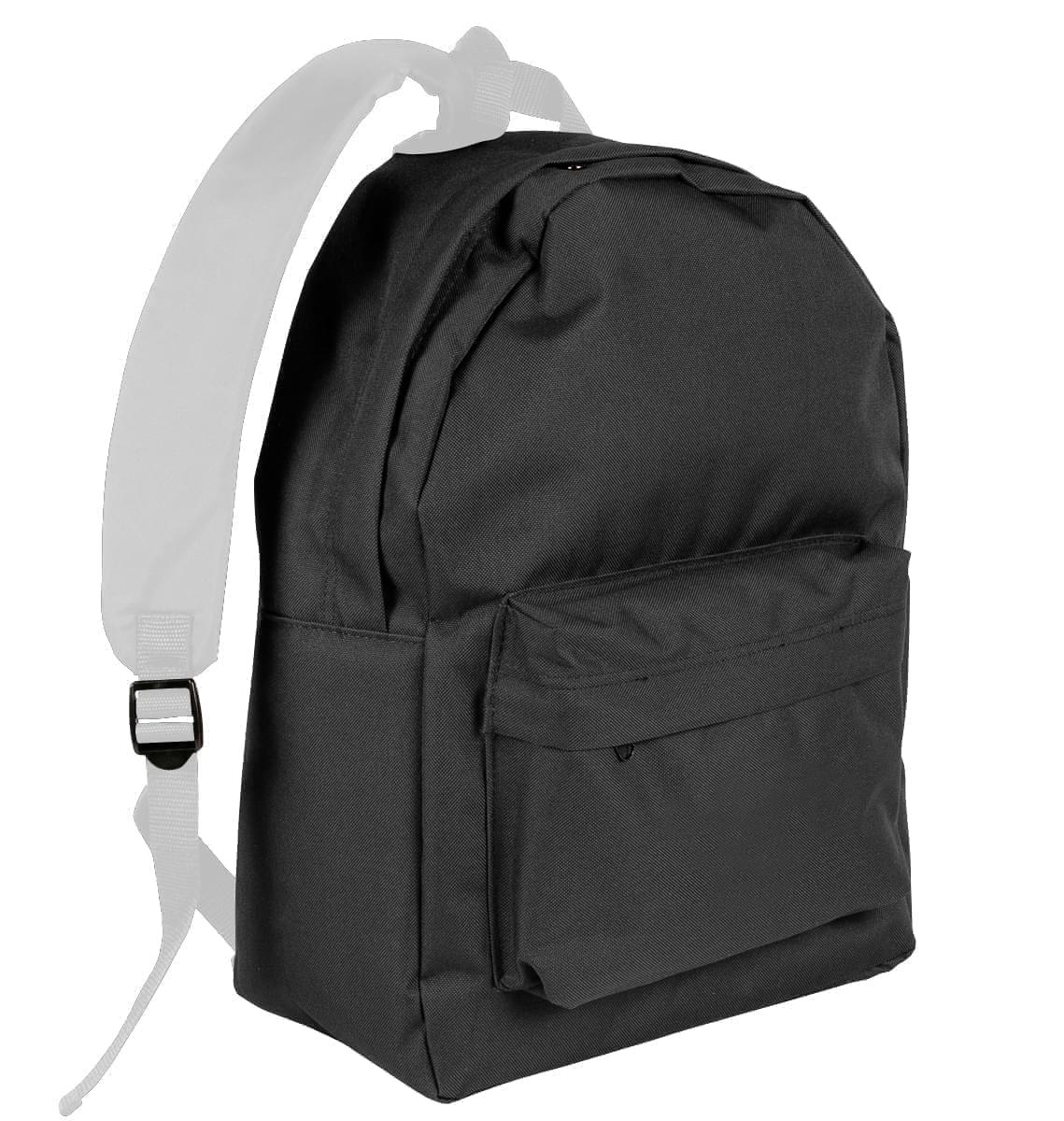 USA Made Nylon Poly Backpack Knapsacks, Black-White, 8960-AO4