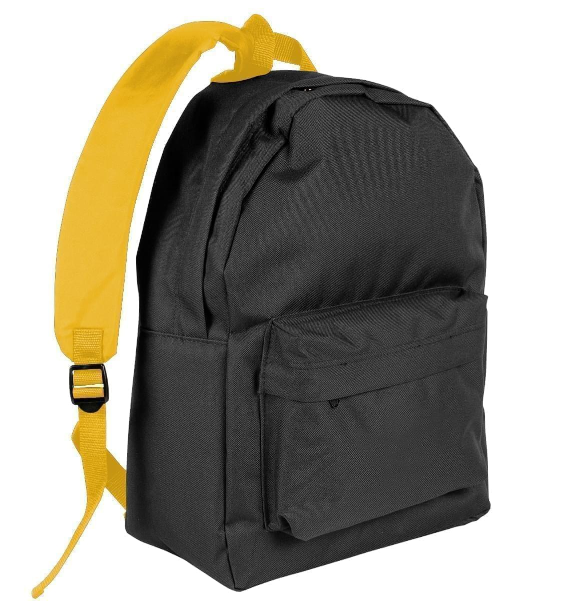 USA Made Nylon Poly Backpack Knapsacks, Black-Gold, 8960-AO5