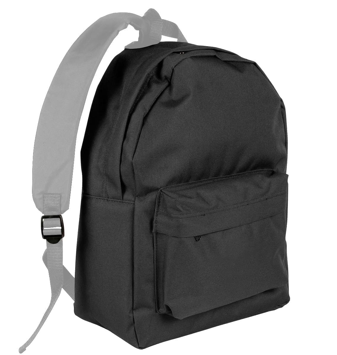 USA Made Nylon Poly Backpack Knapsacks, Black-Grey, 8960-AOU