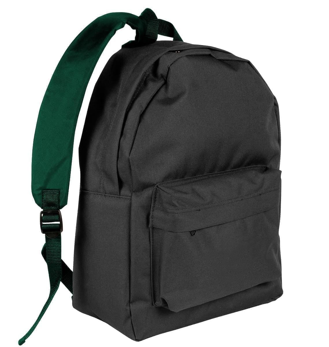 USA Made Nylon Poly Backpack Knapsacks, Black-Hunter Green, 8960-AOV
