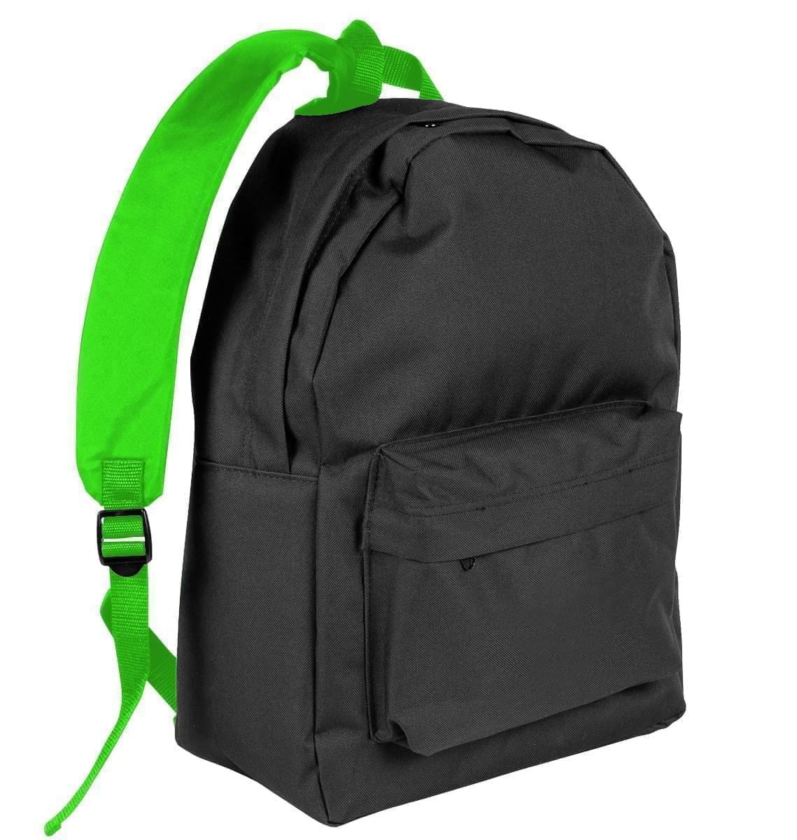 USA Made Nylon Poly Backpack Knapsacks, Black-Lime, 8960-AOY