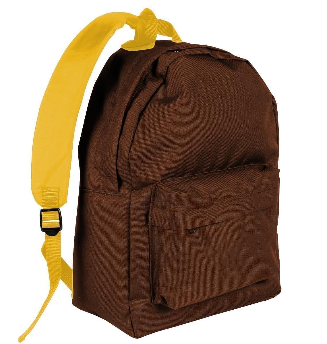 USA Made Nylon Poly Backpack Knapsacks, Brown-Gold, 8960-AP5
