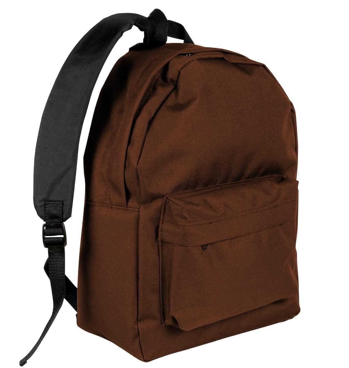 USA Made Nylon Poly Backpack Knapsacks, Brown-Black, 8960-APR