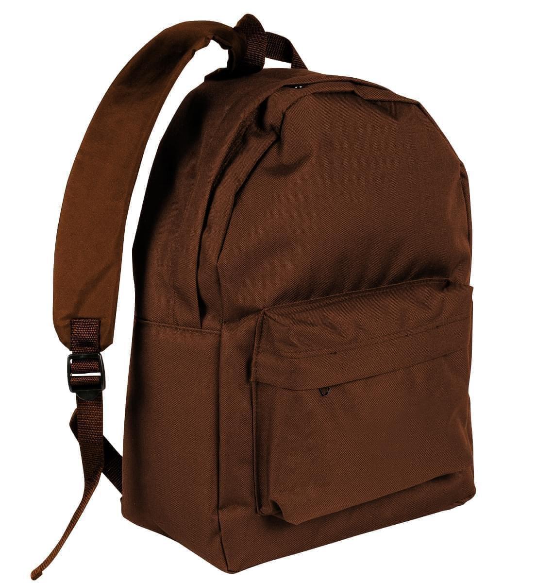 USA Made Nylon Poly Backpack Knapsacks, Brown-Brown, 8960-APS