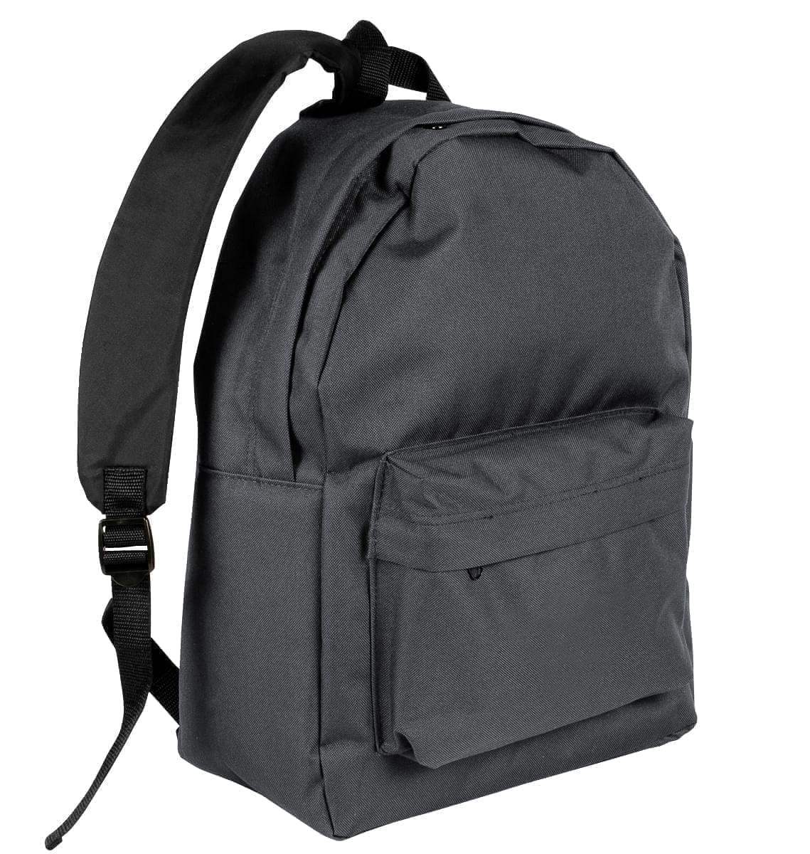 USA Made Nylon Poly Backpack Knapsacks, Graphite-Black, 8960-ARR