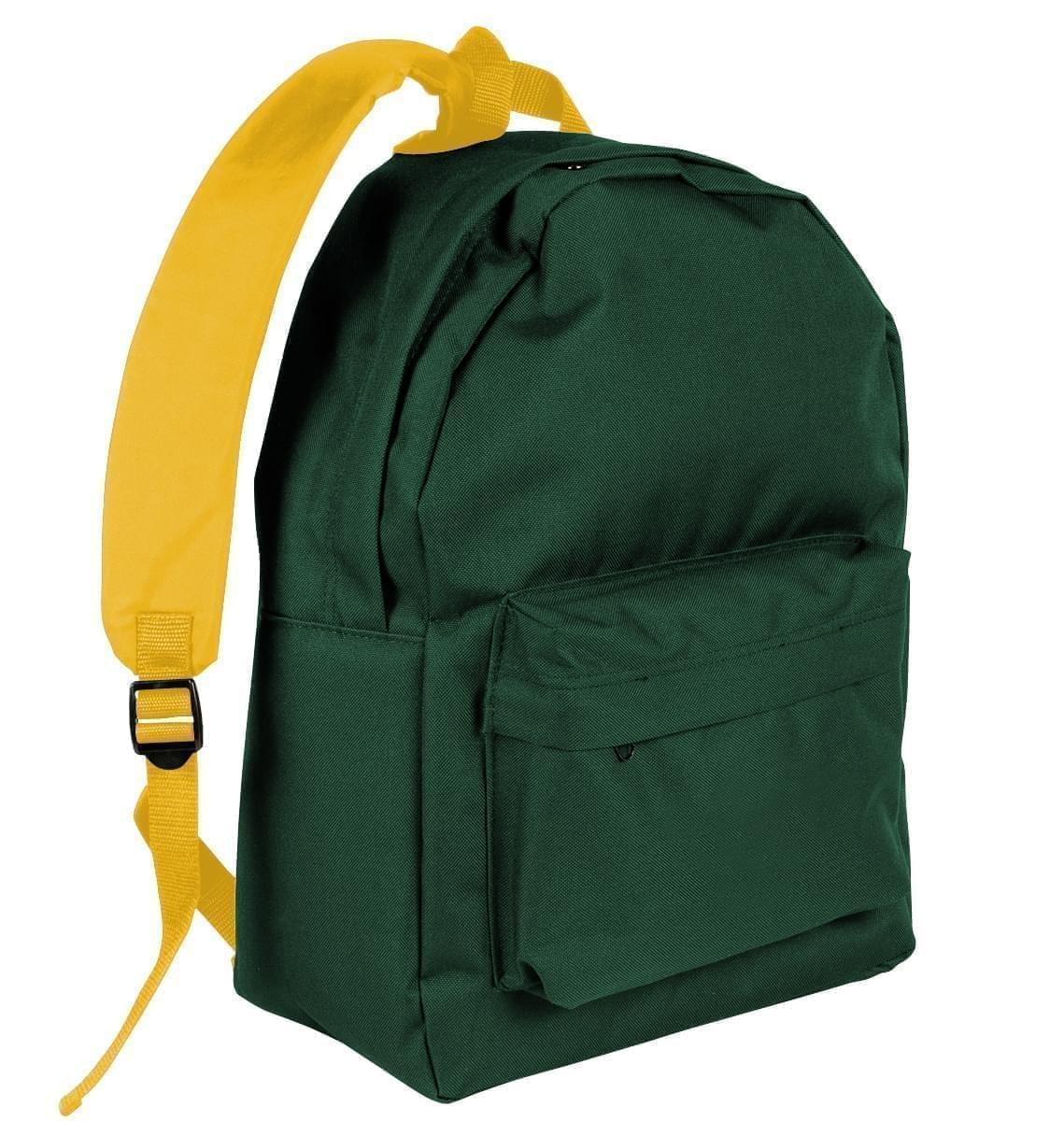 USA Made Nylon Poly Backpack Knapsacks, Hunter Green-Gold, 8960-AS5