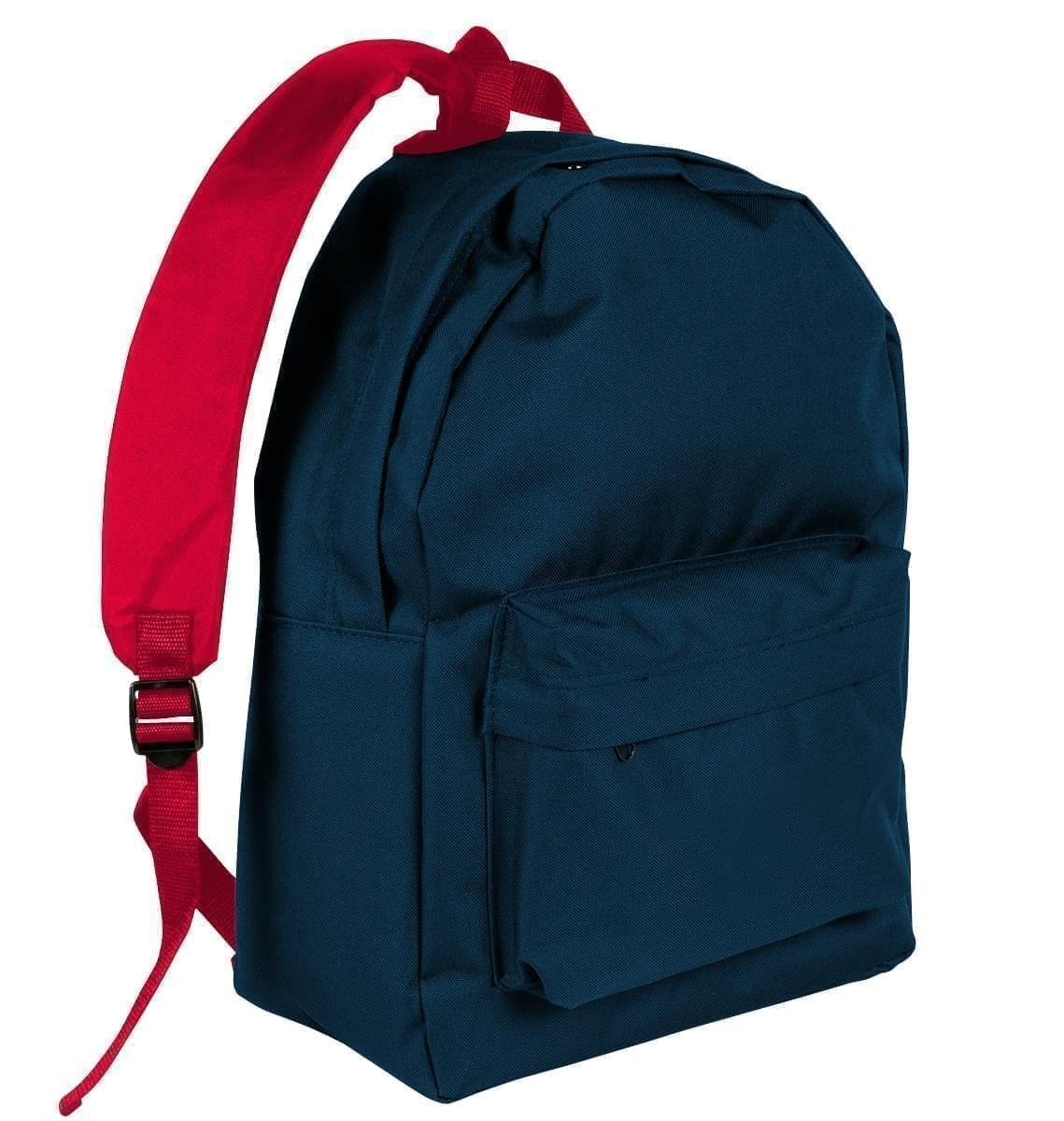 USA Made Nylon Poly Backpack Knapsacks, Navy-Red, 8960-AW2