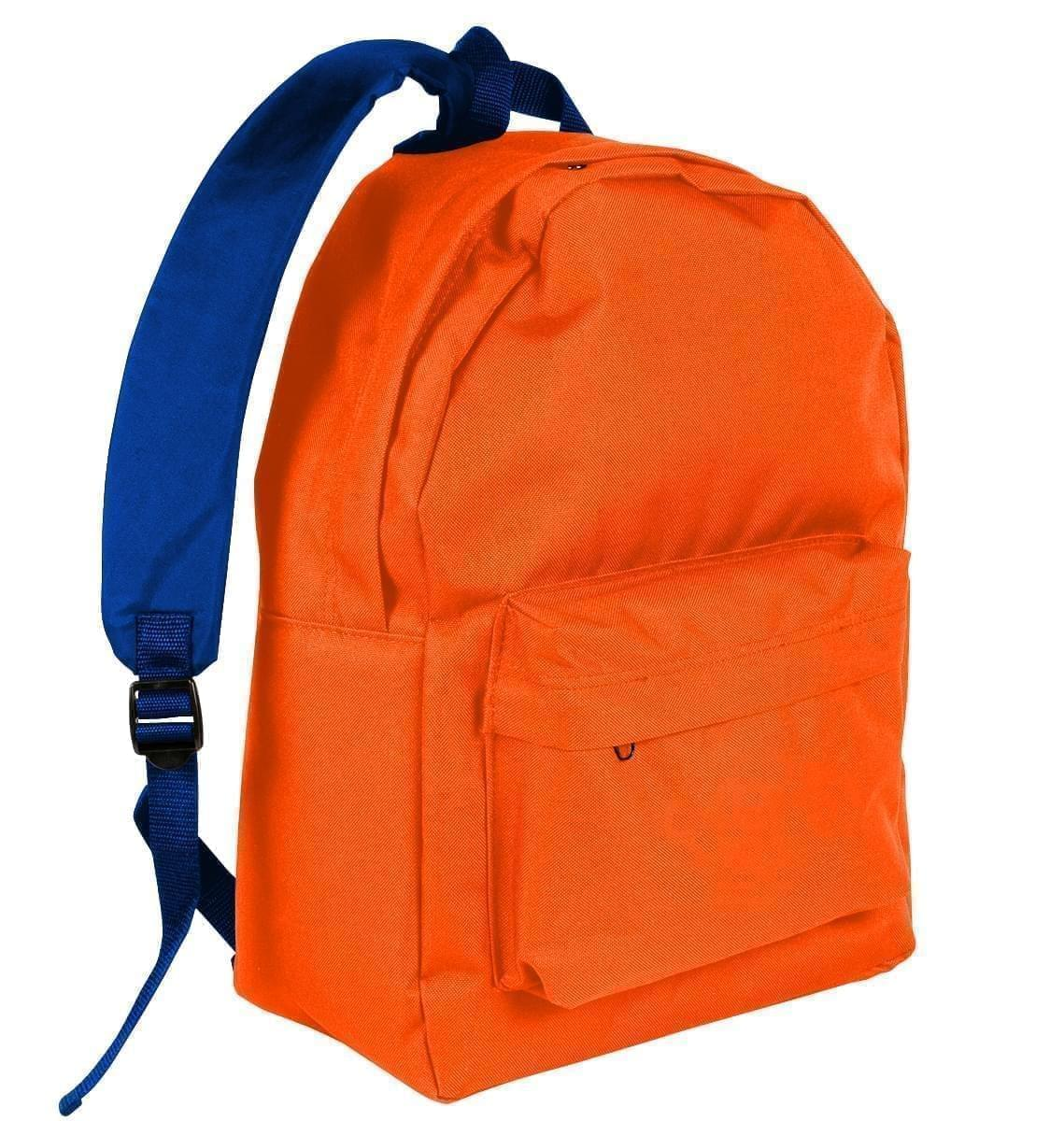 USA Made Nylon Poly Backpack Knapsacks, Orange-Royal Blue, 8960-AX3