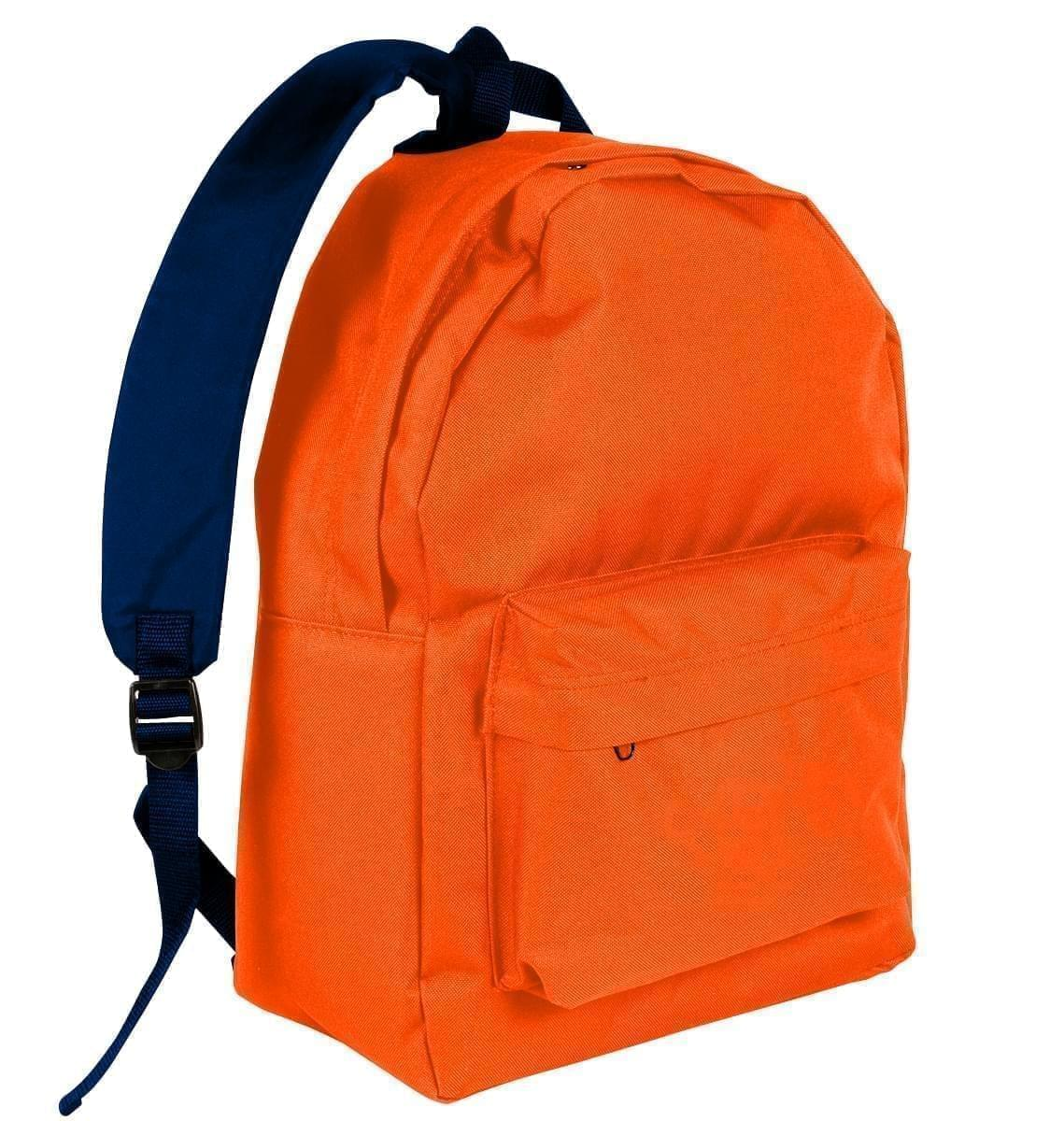 USA Made Nylon Poly Backpack Knapsacks, Orange-Navy, 8960-AXZ