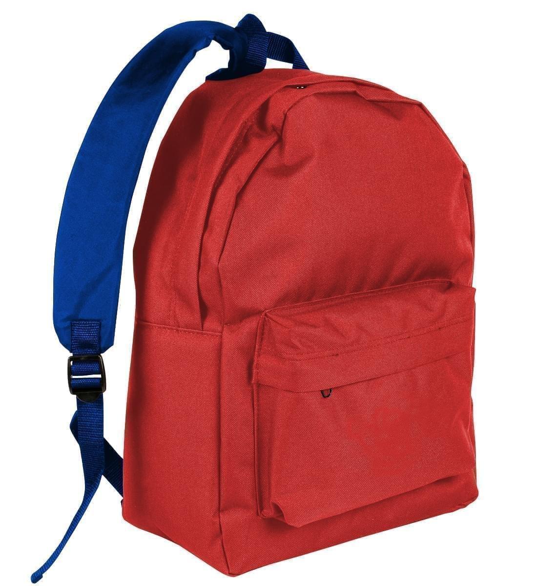 USA Made Nylon Poly Backpack Knapsacks, Red-Royal Blue, 8960-AZ3