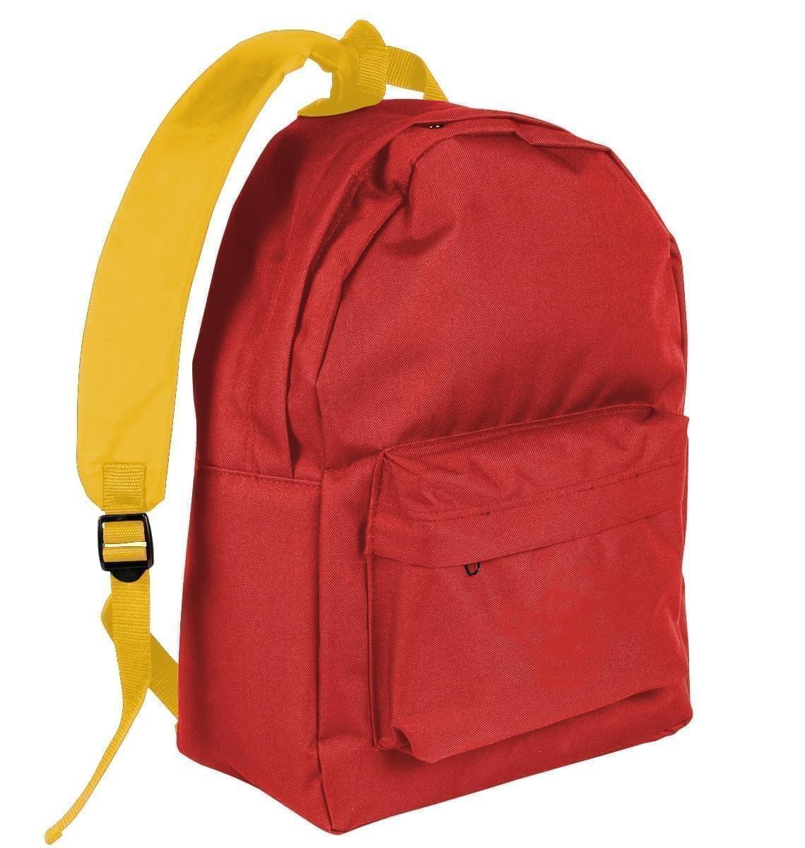 USA Made Nylon Poly Backpack Knapsacks, Red-Gold, 8960-AZ5