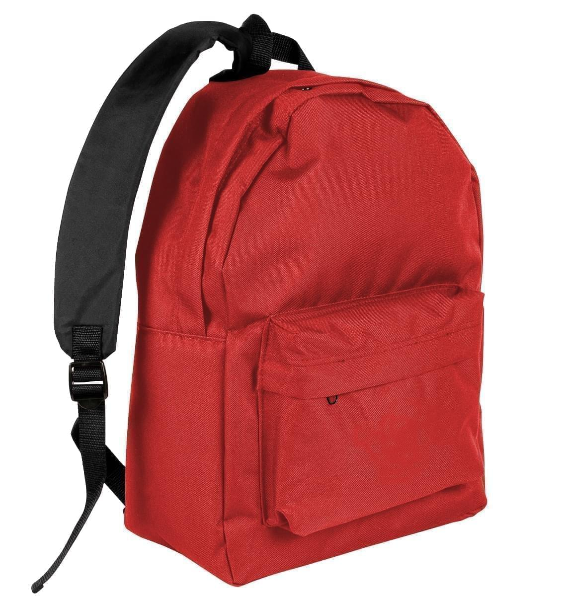 USA Made Nylon Poly Backpack Knapsacks, Red-Black, 8960-AZR