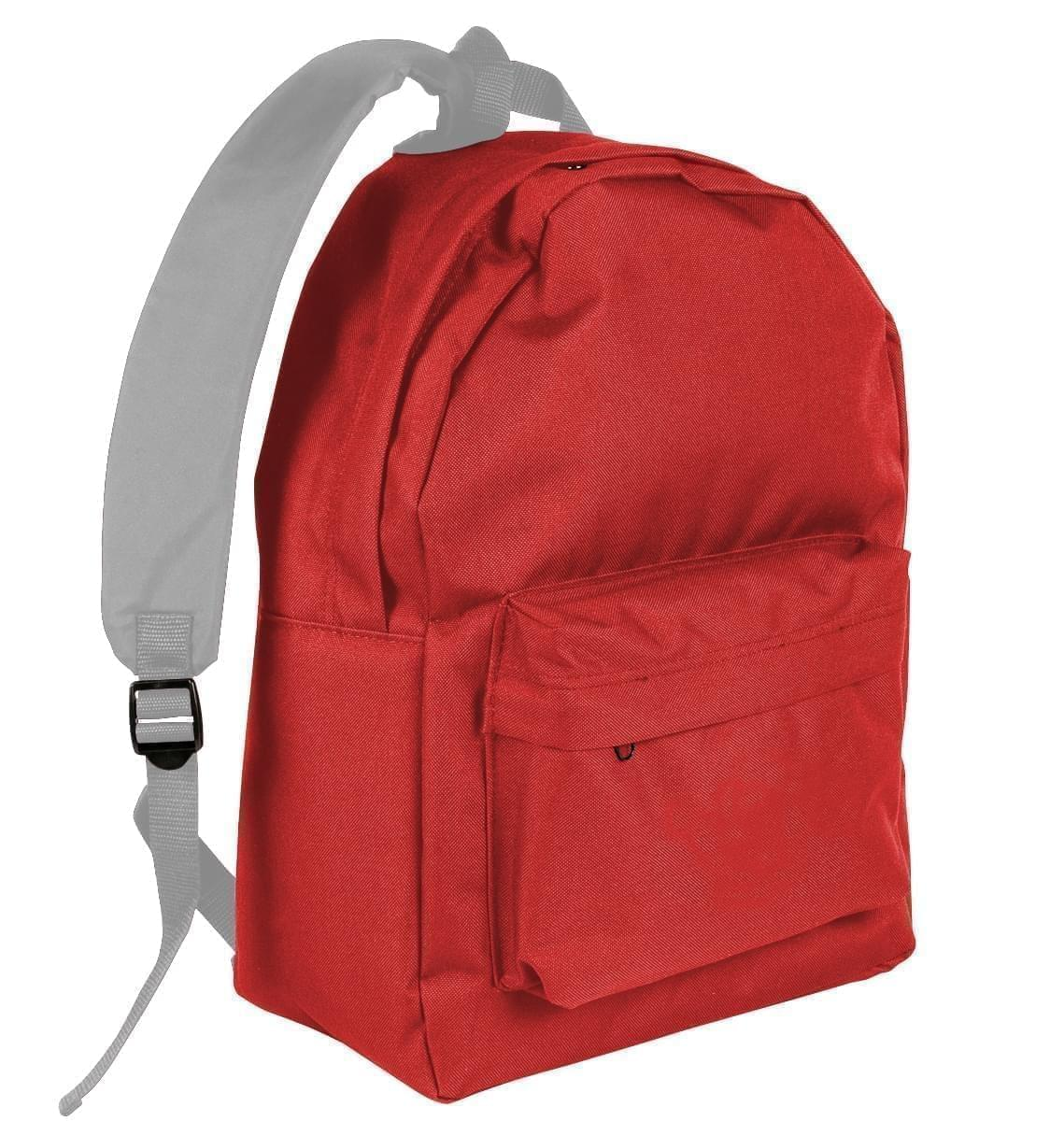 USA Made Nylon Poly Backpack Knapsacks, Red-Grey, 8960-AZU