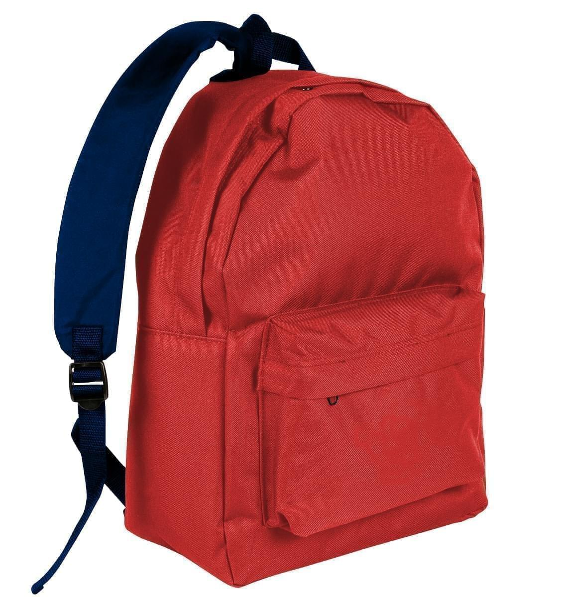USA Made Nylon Poly Backpack Knapsacks, Red-Navy, 8960-AZZ