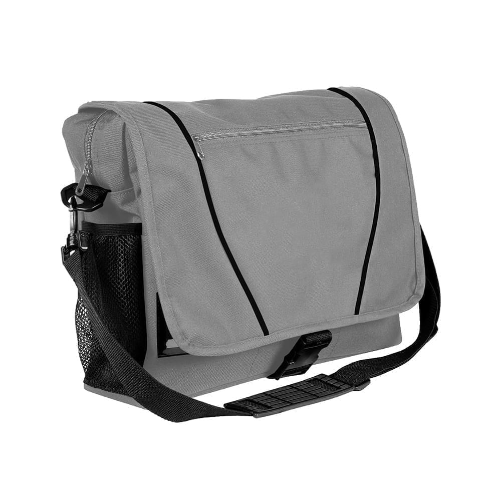 USA Made Nylon Poly Shoulder Bike Bags, Grey-Black, 9001197-A1R