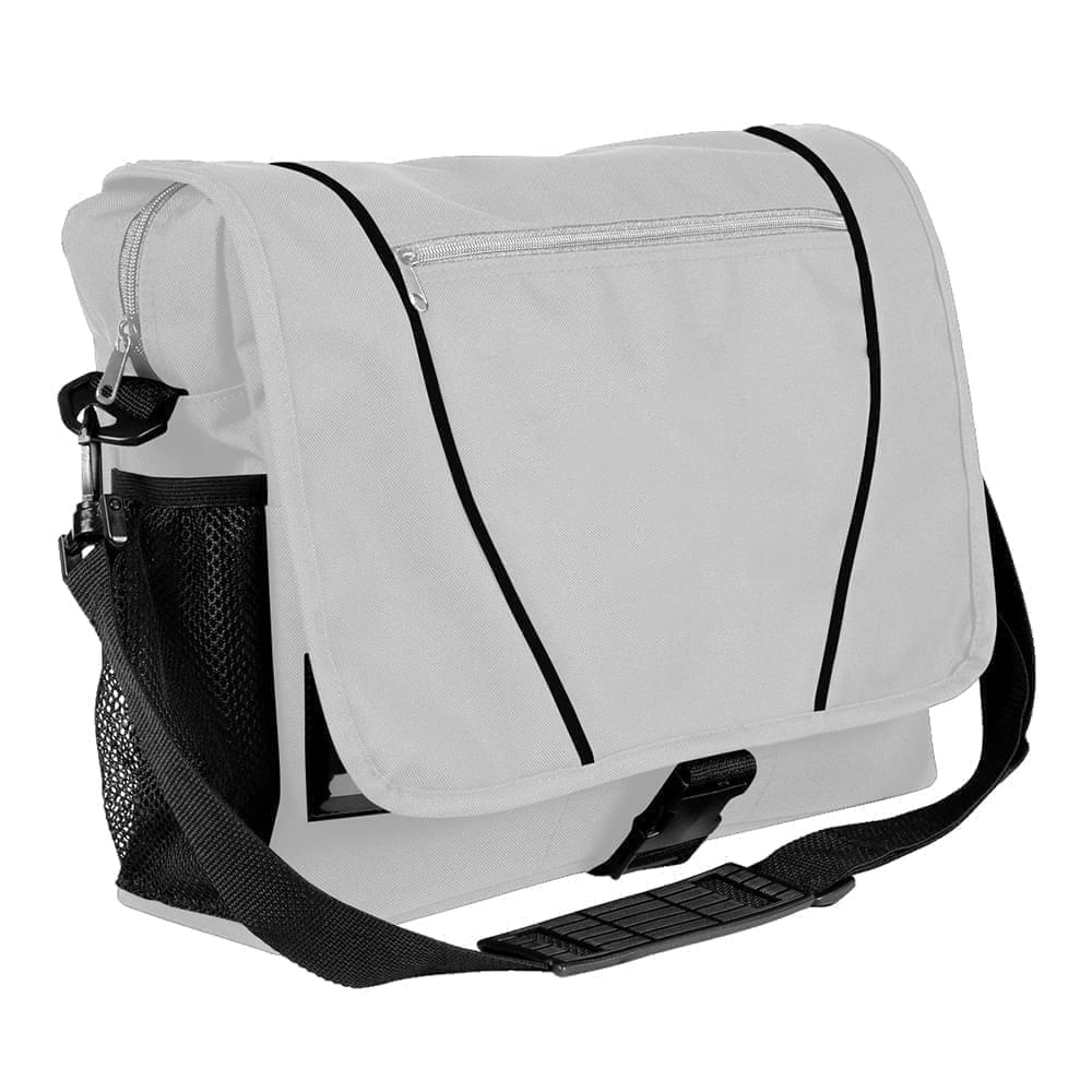 USA Made Nylon Poly Shoulder Bike Bags, White-Black, 9001197-A3R