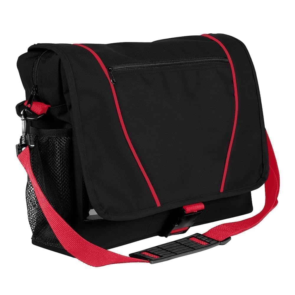 USA Made Nylon Poly Shoulder Bike Bags, Black-Red, 9001197-AO2