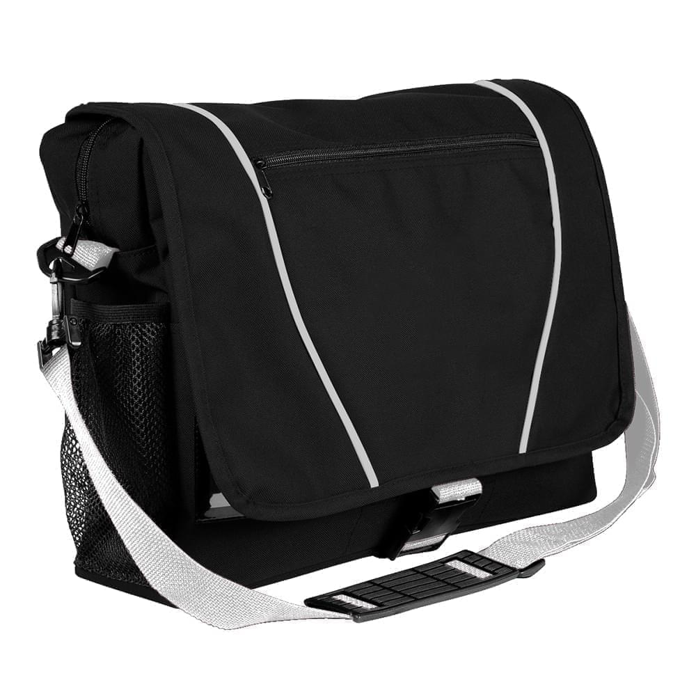 USA Made Nylon Poly Shoulder Bike Bags, Black-White, 9001197-AO4