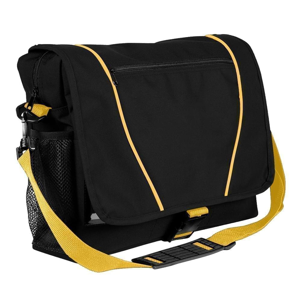 USA Made Nylon Poly Shoulder Bike Bags, Black-Gold, 9001197-AO5