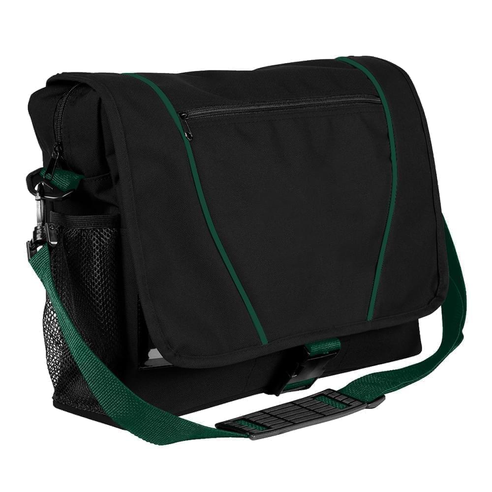 USA Made Nylon Poly Shoulder Bike Bags, Black-Hunter Green, 9001197-AOV