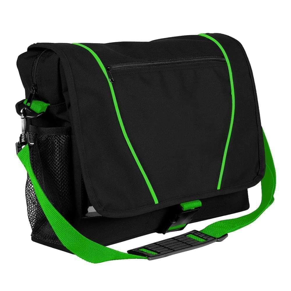 USA Made Nylon Poly Shoulder Bike Bags, Black-Lime, 9001197-AOY