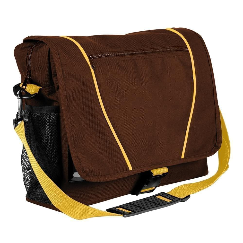 USA Made Nylon Poly Shoulder Bike Bags, Brown-Gold, 9001197-AP5