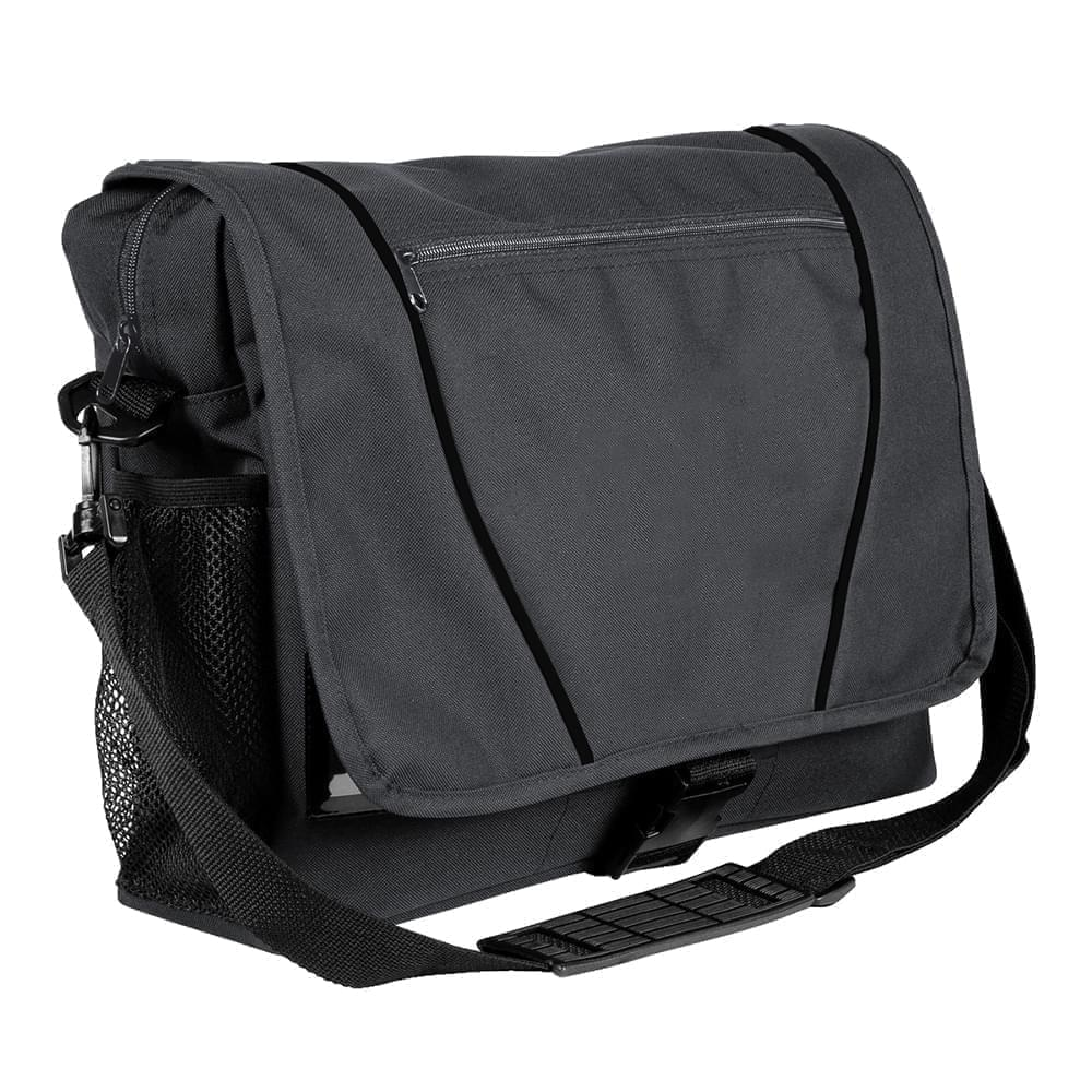 USA Made Nylon Poly Shoulder Bike Bags, Graphite-Black, 9001197-ARR